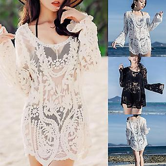 Women's Swimsuit Sunscreen Blouse With Hollow Knitted Net Shirt For Leisure