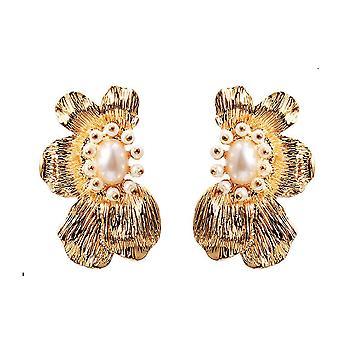 Boucles d'oreilles Fleur symétrique Bijoux en métal d'or pour l'exposition