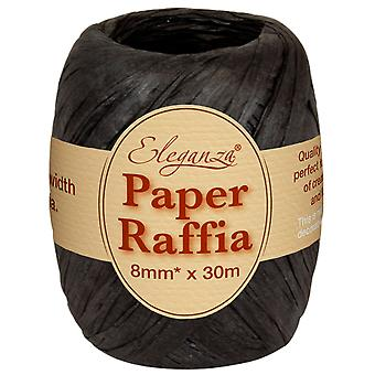 Black 8mm x 30m Paper Raffia Roll Cracker Ties