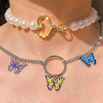 Cute Butterfly Choker Necklace, Stainless Steel Gothic Pendants(Y)