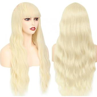 Mid-section Long Curly Hair Pink Rose Net Color Female Wig Hat(Beige)