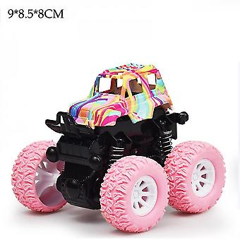 Children's Toy Four-wheel Drive Vehicle Painted Off-road Vehicle Stunt Roll Toy Car Birthday Gift