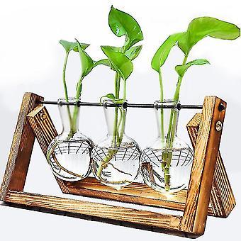 Dekor Blumenvase Terrarium Kreative Hydroponische Pflanze Transparente Vase Holzrahmen Vase Dekorieren