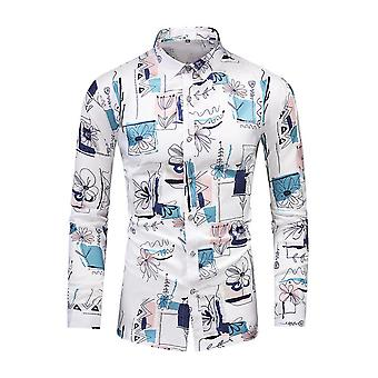 Mile Men's Floral Printed Long Sleeve Button Down Party Casual Floral Shirts