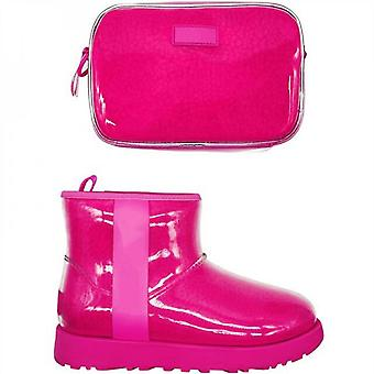 Evago Christmas Gift Bag And Boots/set Women Waterproof Shoes Cover Reusable Overshoes Snow Boots Pvc Material Lamb Fur Inner And One Bag