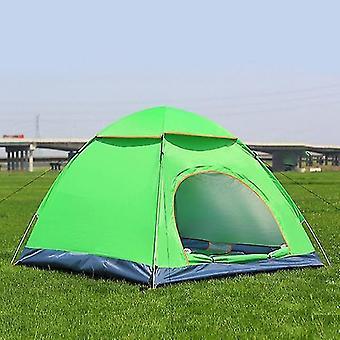 3-4 الناس 3 في 1 في الهواء الطلق التلقائي خيمة التخييم Rainproof خيمة الباب المزدوج (الأخضر)