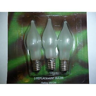 Flood spot lights 3 x e10 replacement screw in frosed candle bulbs 34v 3w sb236