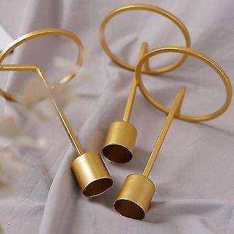 Minimalistinen tyyli metallinen kynttilänjalka pitimet kodin sisustukseen (pieni)(Kulta)
