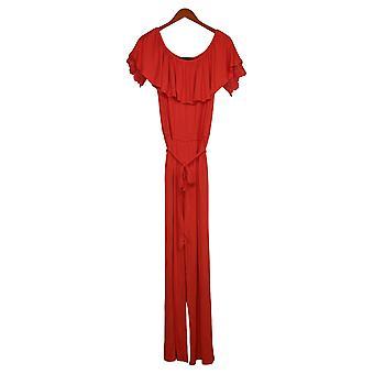 Colleen Lopez Jumpsuits Off-The-Shoulder Lace One-Piece Orange 696397