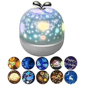 6/10 Elokuvat Usb Starry Sky Projektori Yö Valo Universe Planet Sarjakuva kuvio Led Projection Lamp Room Decoration Kids Lahjat