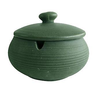 منفضة سجائر خزفية مع غطاء مقاوم للرياح، مناسبة للاستخدام في الهواء الطلق والأماكن المغلقة، الأخضر الفاتح
