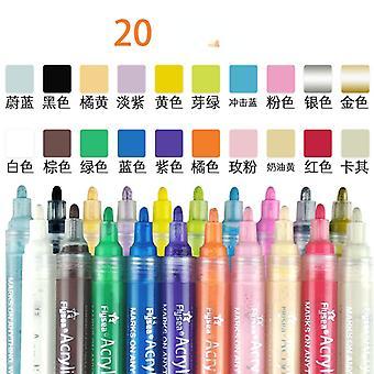 20色水ベースアクリルマーカーペンDIYペイント落書き防水フォトアルバムペンフックラインペンマルチカラーセット
