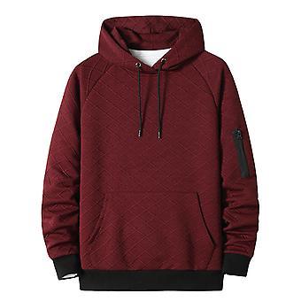 Herren Sweatshirt Hoodies Top Bluse Trainingsanzüge Langarm Herbst Winter Casual Rot