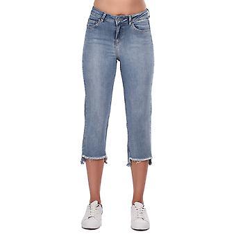 blå hvit kvinners beskåret ben jeans