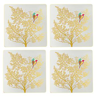 Sara Miller Chelsea Gold Leaf Square Placemats, 4 kpl setti