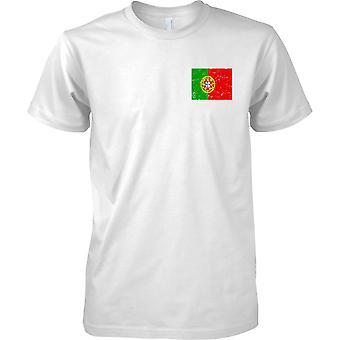 Portugali ahdistuneita Grunge Effect lippu Design - miesten rinnassa Design t-paita