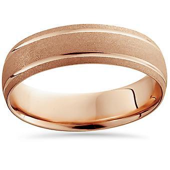 14 K Rose Gold Herre børstet dobbelt linje bryllup Band 6mm bred Ring