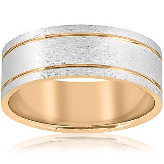 14K White & gul guld to Tone Herre Comfort Fit 8mm vielsesring