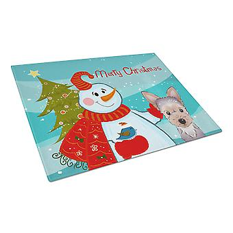 Snowman with Yorkie Puppy Glass Cutting Board Large
