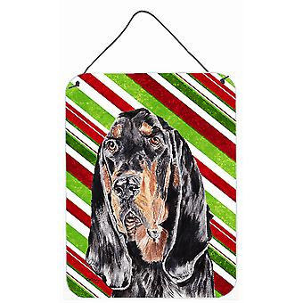 Coonhound Candy Cane Christmas Aluminium Metal Wall or Door Hanging Prints