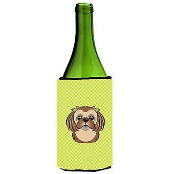 Checkerboard Lime Green Chocolate Brown Shih Tzu Wine Bottle Beverage Insulator