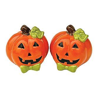 Halloween lächelnd Orange Jack-O-Laternen Keramik Salz und Pfeffer Shaker Set