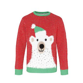 Christmas Shop Adults Unisex Polar Bear 3D Nose Christmas Jumper/Sweatshirt