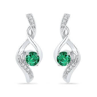 Lab Created Emerald 1/4 Carat (ctw) Infinity Earrings in 10K White Gold