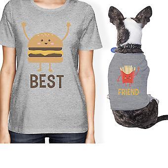 مالك الحيوانات الأليفة الصغيرة الهامبرغر والبطاطا المقلية مطابقة هدية تتسابق المحملات رمادية