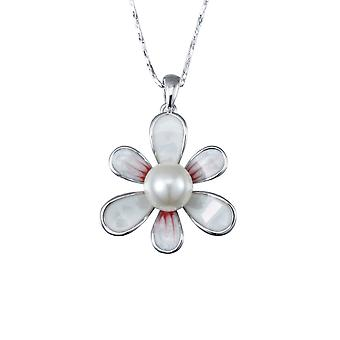 Pendentif Fleur Perle Blanche, Nacre et Plaqué Rhodium 3383