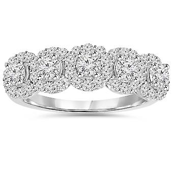 1 1/10 cttw Diamond Anniversary Wedding Ring 14K White Gold