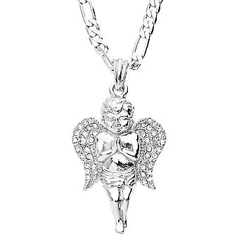 Iced out bling fashion necklace - silver