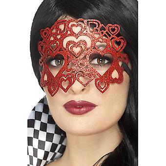 Filz Herz Augenmaske Harlekin