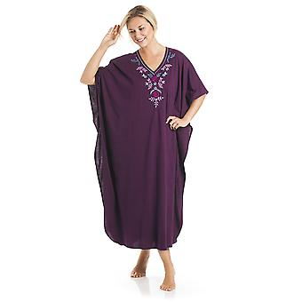 Ladies One Size Kaftans Embroidered Neckline Full Length 812 - Purple - 12-24