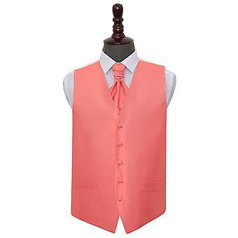 Korallen solide Check Hochzeit Weste & Krawatte Set