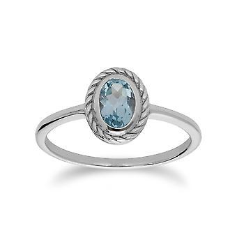 Gemondo Sterling Silver Blue Topaz November Rope Design Ring