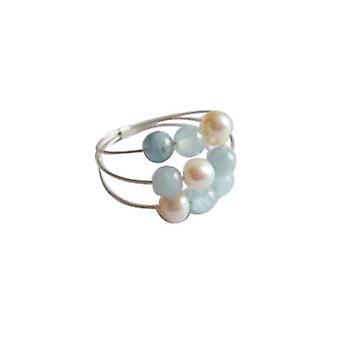 Gemshine - kvinnors - ring - 925 Silver - akvamarin - pärlor - blå - vit