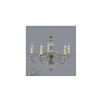 Interiors 1900 Tilburg Polished Nickel & Crystal 5 Light Chandelier + Chocolate Shades