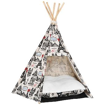 PawHut Portable Canvas Pet Teepee Tent Foldable Cat Bed Dog Puppy House Small Animal Play Kennels Removable Washable Cushion
