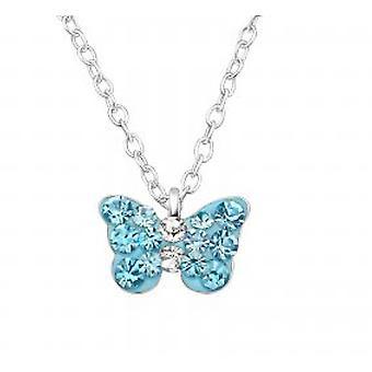 Девочки, серебро с голубой кристалл бабочки кулон ожерелье