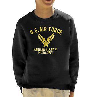 US Airforce Keesler AF Base Mississippi gul Text Kids tröja