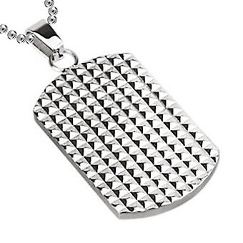 Multi Pyramids Dog Tag Pendant, Stainless Steel Jewellery with Chain