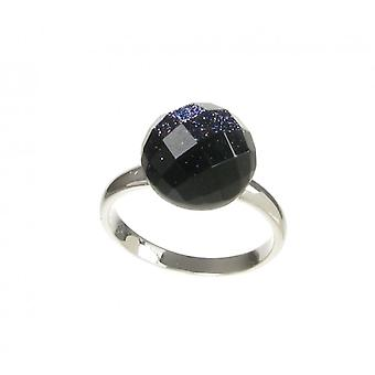 Cavendish French Blue Sandstone Faceted Domed Button Ring