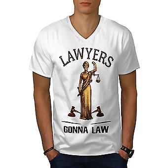 Anwälte gehen zu Law Men WhiteV-Neck T-Shirt | Wellcoda