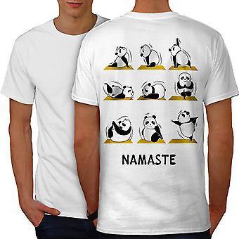 Yoga Poses Funy Men WhiteT-shirt Back | Wellcoda
