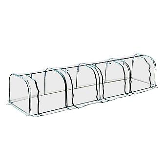 Outsunny Large Transparent PVC Tunnel Greenhouse Grow House Steel Frame Green Four Zipped Doors 400x100x80 cm