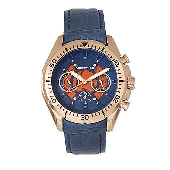 MORPHIC M66 serie skelet Dial lederen-Band Watch w / dag/datum - Rose Gold/blauw