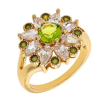 Bertha Juliet Collection Women's 18k YG Plated Light Green Floral Statement Fashion Ring Size 5