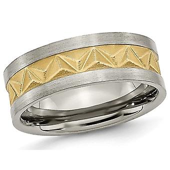 Mens Titanium 8mm Brushed Wedding Band with Yellow Plating