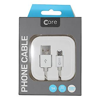 Core - Fast Charge Micro USB Cable in Case - White - 1M